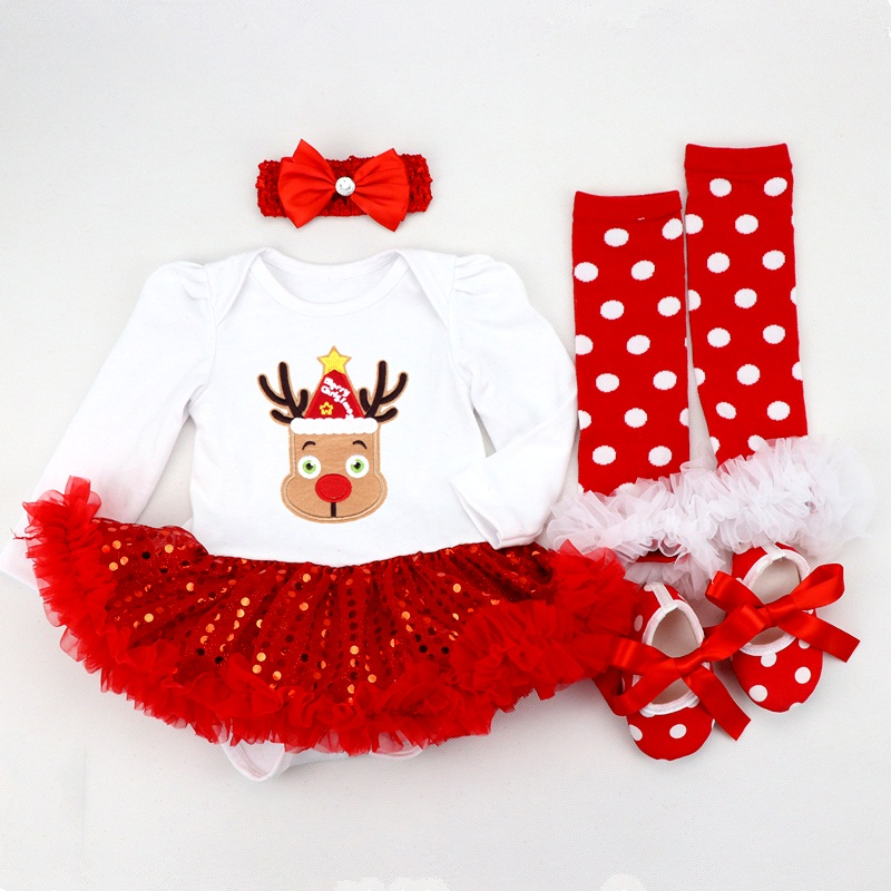 Infant Clothing Set Girls Cutest Deer Outfits Baby Christmas Boutique Clothes Red Bling bling Tutu Dress 4pcs set With Headband-in Dresses from Mother & Kids