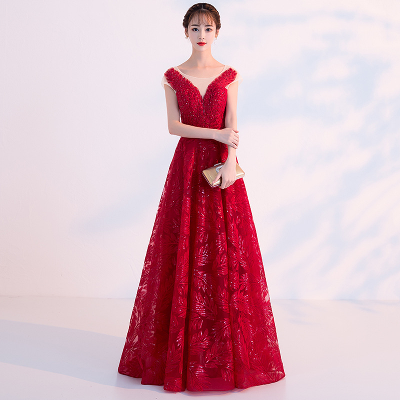 2019 Spring Summer New Fashion Women Red   Evening     Dress   Sleeveless A-line Illusion Back Lace Up Prom Party   Dresses