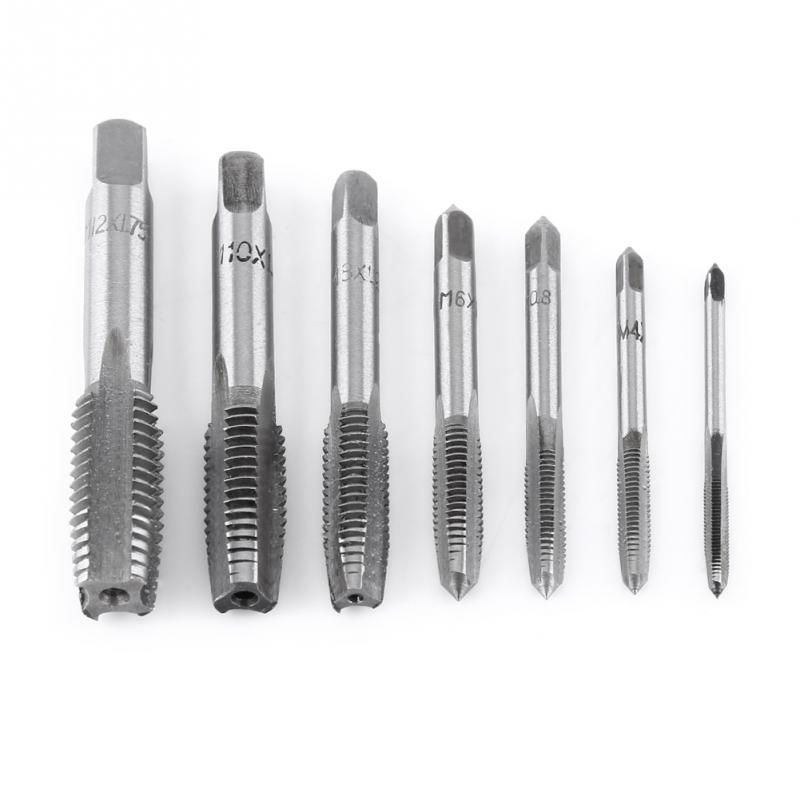 7PCS/Set HSS M3 M4 M5 M6 M8 M10 M12 Machine Straight Fluted Screw Thread Metric Plug Hand Tap Drill Set Hand Tools(China)