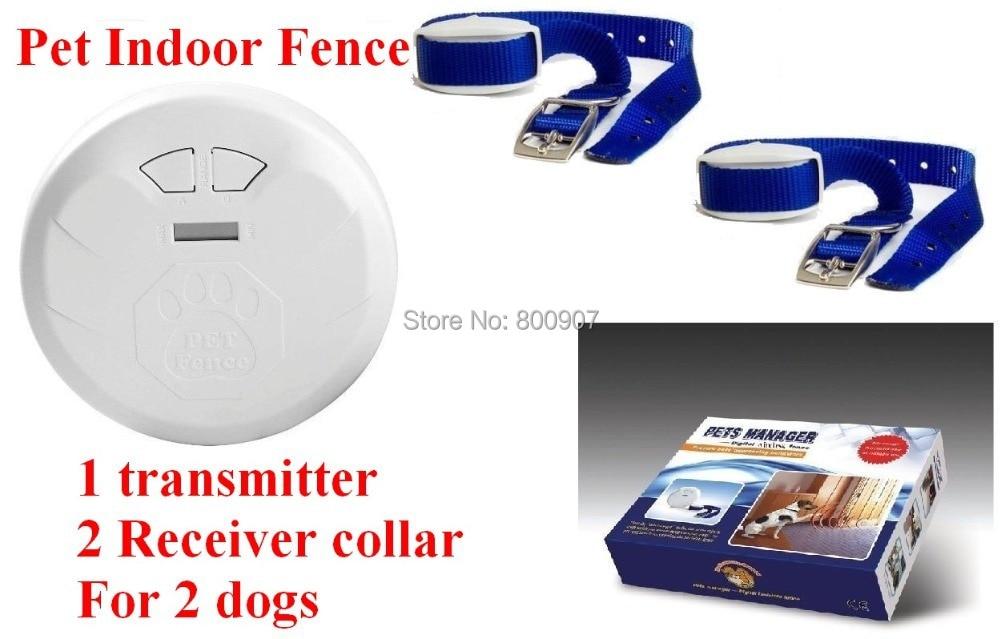 Haustier Innen Drahtlose Zaun Hund ausbildung kragen Hund Elektrische Schock Zaun Hund Zaun Pet Manager für 2 hunde-in Trainings-Halsbänder aus Heim und Garten bei  Gruppe 1