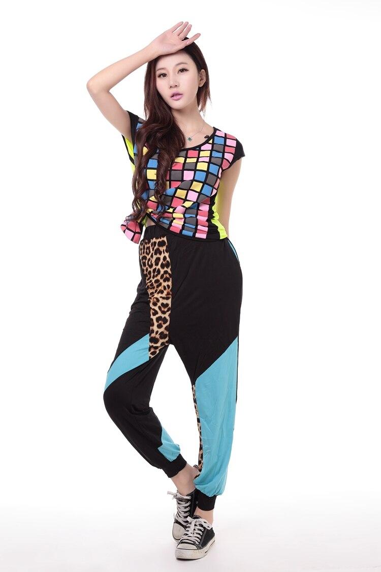 7bcbb02175cd3 Nova moda Marca Harem Dança Hip Hop Calças Moletom Leopardo Trajes  femininos desgaste performance de palco calças harém jazz em Calças    Capris de Roupas ...