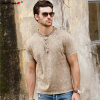 GustOmerD New Summer Tops Tees Men Fitness Solid Casual Men Cotton Tshirts Brand Clothing Short Sleeve
