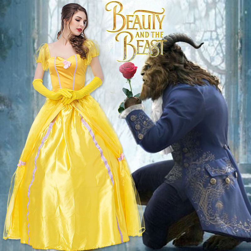 Beauty and the Beast Halloween Princess belle cosplay Dress yellow party carnival fancy Fairy costume Sets Halloween carnival