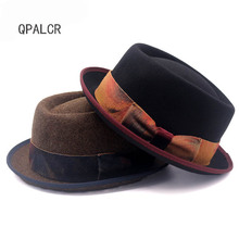 d5106b995e2 QPALCR Men Women s Flanging Brim Fedoras Jazz Hat Vintage 100% Wool Felt  Hat Pork Pie
