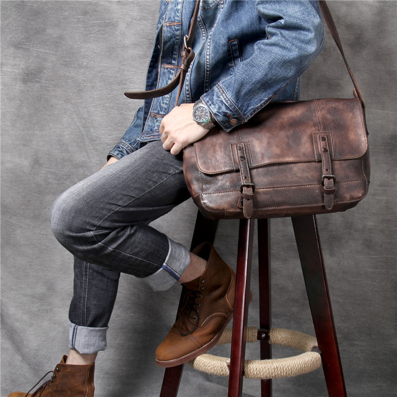 PNDME luxury simple genuine leather men 39 s shoulder bag casual vintage large capacity soft first layer cowhide messenger bag