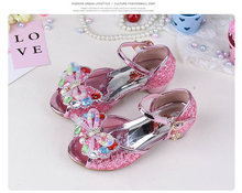 Summer Children's Butterfly Sandals Shoes Princess Sandals Kids Girls Wedding Shoes High Heels Leather Bowtie Dress Shoes