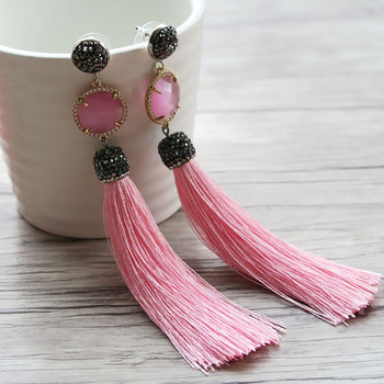 10Pair Crystal Connector Double Bails with cotton Tassel Earring,Pave Rhinestone Dangle Jewelry,For Women Bohemia Earrings ER235
