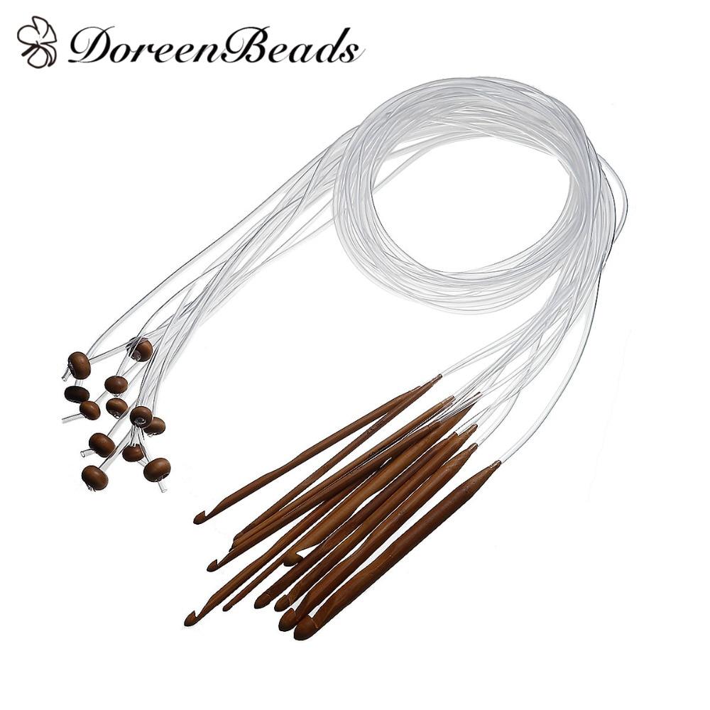 12pcs Bamboo Tunisian Crochet Hooks Set Carpet Knitting Needles Craft 3-10mm