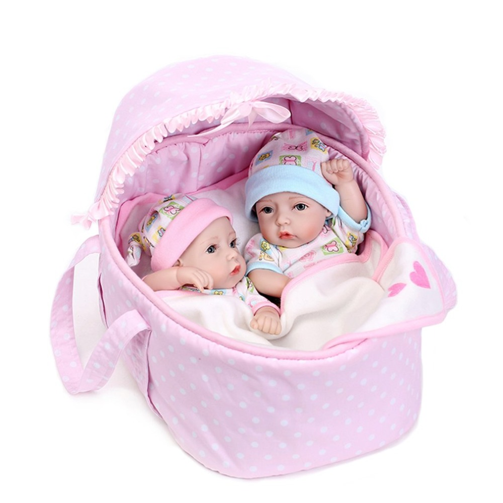 2Pcs 28cm Mini Cute Reborn Doll Toys With Cradle Realistic Shower Soothing Play Lifelike BabyDoll Educational Toy boneca Gift
