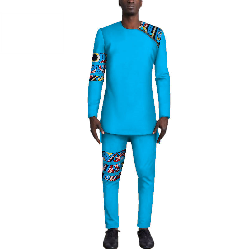 Casual-Mens-African-Clothing-Bazin-Riche-Patchwork-Top-Shirt-and-Pants-for-Men-Custom-100-Cotton(4)