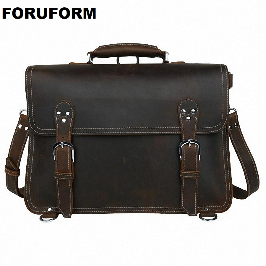 Vintage Crazy Horse Genuine Leather Men Briefcase Business Bag Large Leather Briefcase Men 15.6Laptop Case Shoulder Bag LI-1823 vintage genuine leather men briefcase bag business men s laptop notebook high quality crazy horse leather handbag shoulder bags