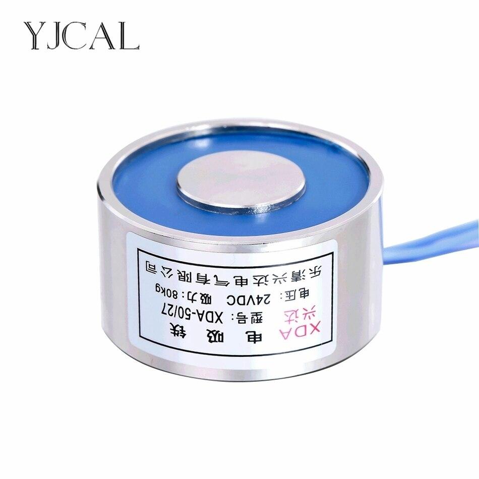 YJ-50/27 Azienda Elettrica Ventosa Magnete Elettromagnete Dc 12 V 24 V aspirazione-tazza Cilindrico di Sollevamento 80 KG gallio Metallo Cina