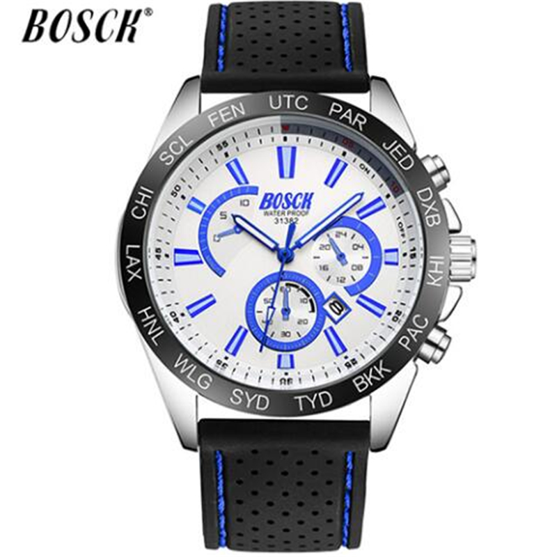 Waterproof Fahsion Watch Sliver Stainless Steel Man's Sports Watches Saat Reloj Hombre 2018