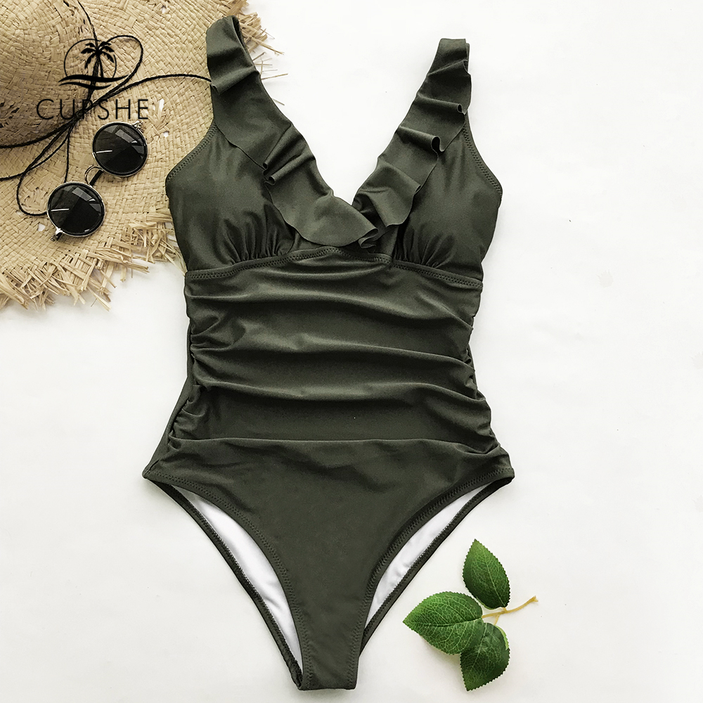 CUPSHE Army Green Ruffle One-piece Swimwear Women V-neck Falbala Solid Monokini 2018 Girl Beach Plain Bathing Suit Swimsuit ruffle trim solid tee
