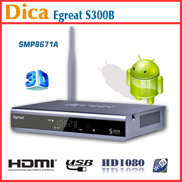 Egreat S300B Sigma Designs SMP8671A HDMI RJ45 USB WIFI Android2.1 Smart TV Set Top Box with Online Update Standard Package
