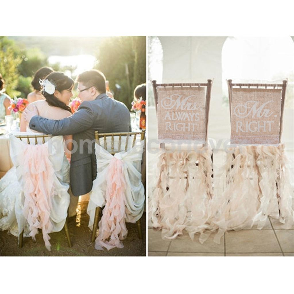 Mr right & Mrs always right Jute Hessian Chair Banner Rustic Wedding Burlap Signs Decoration