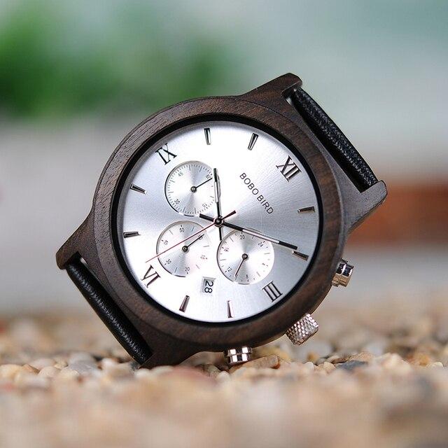 BOBO BIRD WP28 montres hommes en bois de luxe chronographe résistance à l'eau montre à Quartz affichage de la Date cadeau pour hommes dans une boîte-cadeau en bois 4