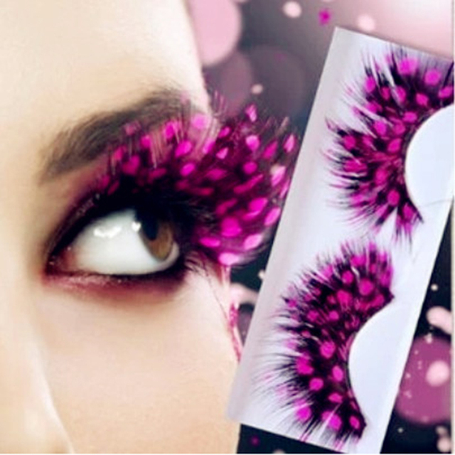 1 Pair Fashion Colors Cosplay Halloween Feather False Eyelashes Handmade Party Exaggerated Fake Eye Lashes Extension Makeup Tool 1