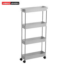 Magic Union Bathroom Quilted Storage Rack Four Layers Kitchen Narrow Cabinet Living Room Foor-standing Gap Shelf(China)