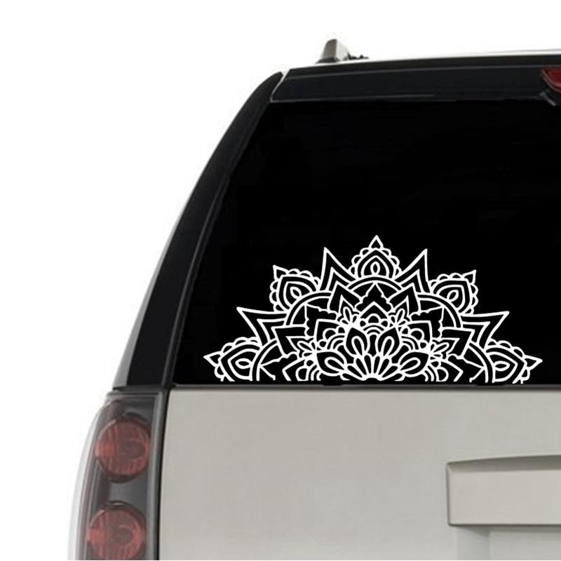 Mandala Car Decal Half Mandalas Sacred Geometry Laptop Vinyl Sticker Boho Hippie Bohemian Spiritual For Apple MacBook Decor