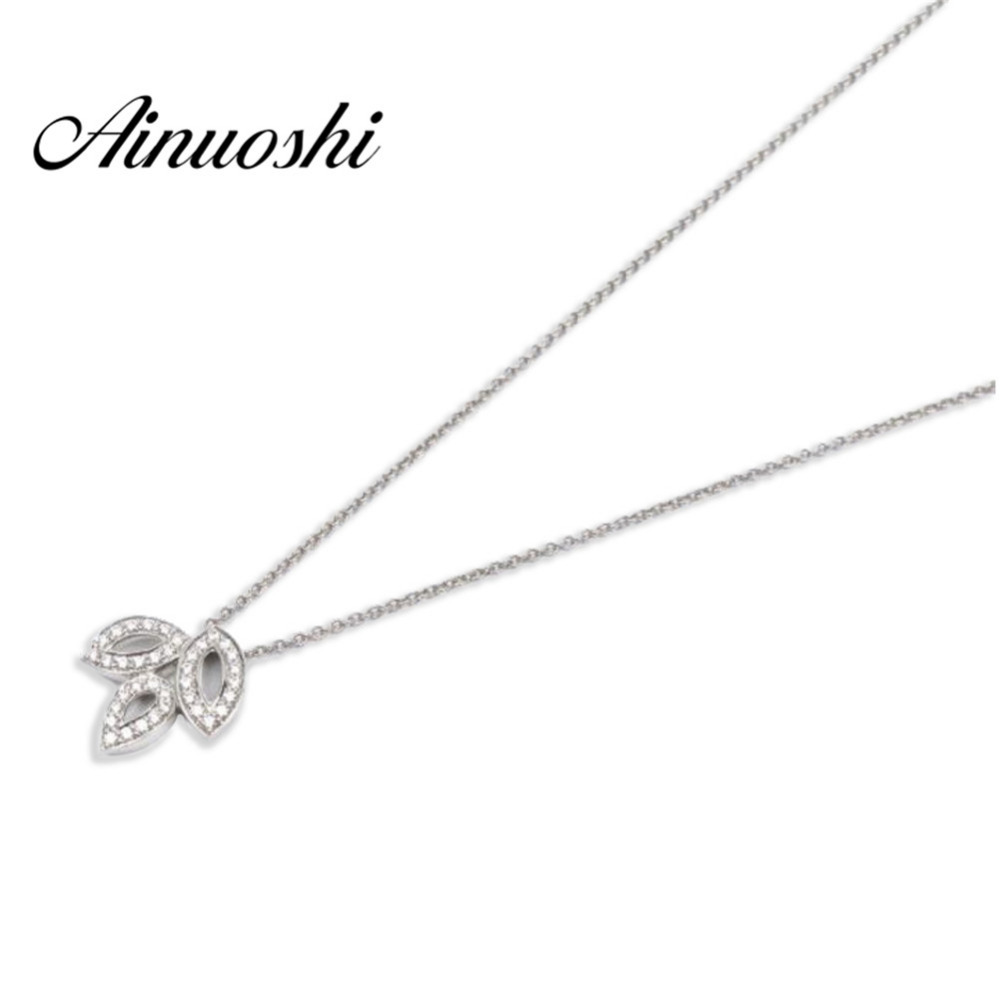 AINUOSHI Luxury 925 Sterling Silver Pendant Necklace for Women Cute Three Leaves Long Chain Necklace Wedding collar de plata AINUOSHI Luxury 925 Sterling Silver Pendant Necklace for Women Cute Three Leaves Long Chain Necklace Wedding collar de plata