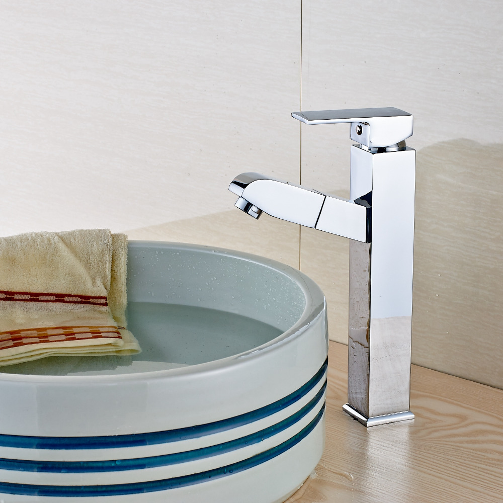 Modern Square Chrome Brass Bathroom Faucet Pull Out Sprayer Mixer ...