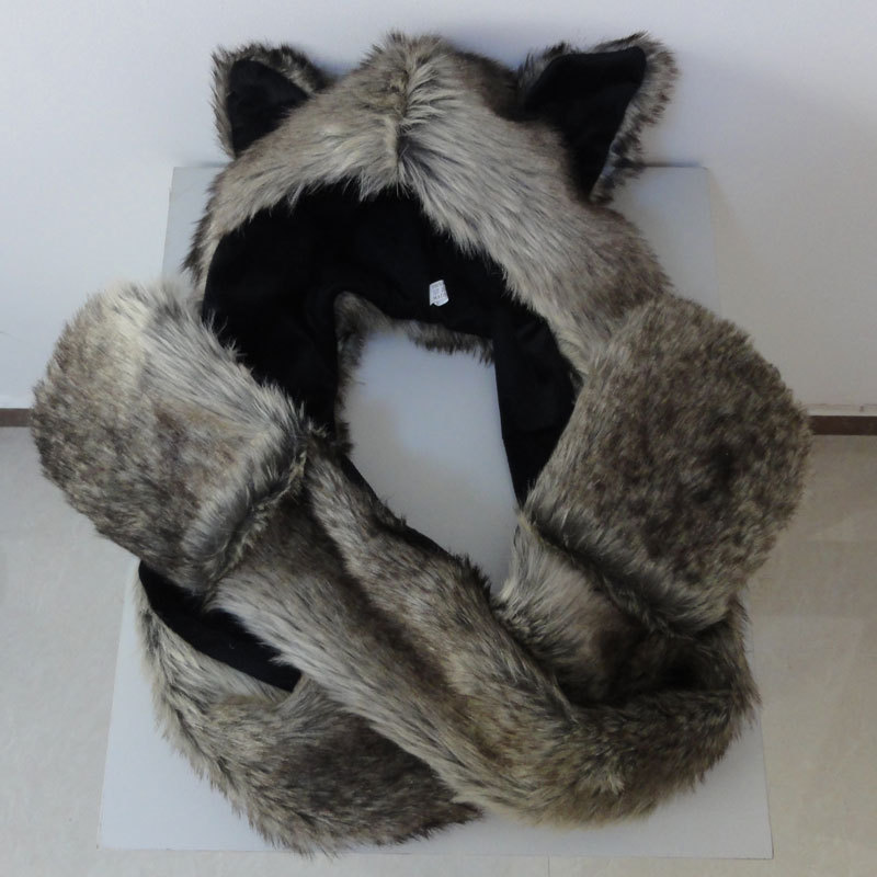 c1a2ffa3cccd1 Retail New Faux Fur Women s Hat Wolf Winter Cartoon Plush Fur Animal Hats  Scarf  Gloves Sets Warm Caps 6 Color Beanies