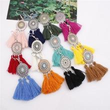 Fashion Colorful Tassel drop Earrings Bohemian Hanging Dangle Statement Earrings for Women Girls colorful enamel green tassel dangle earrings
