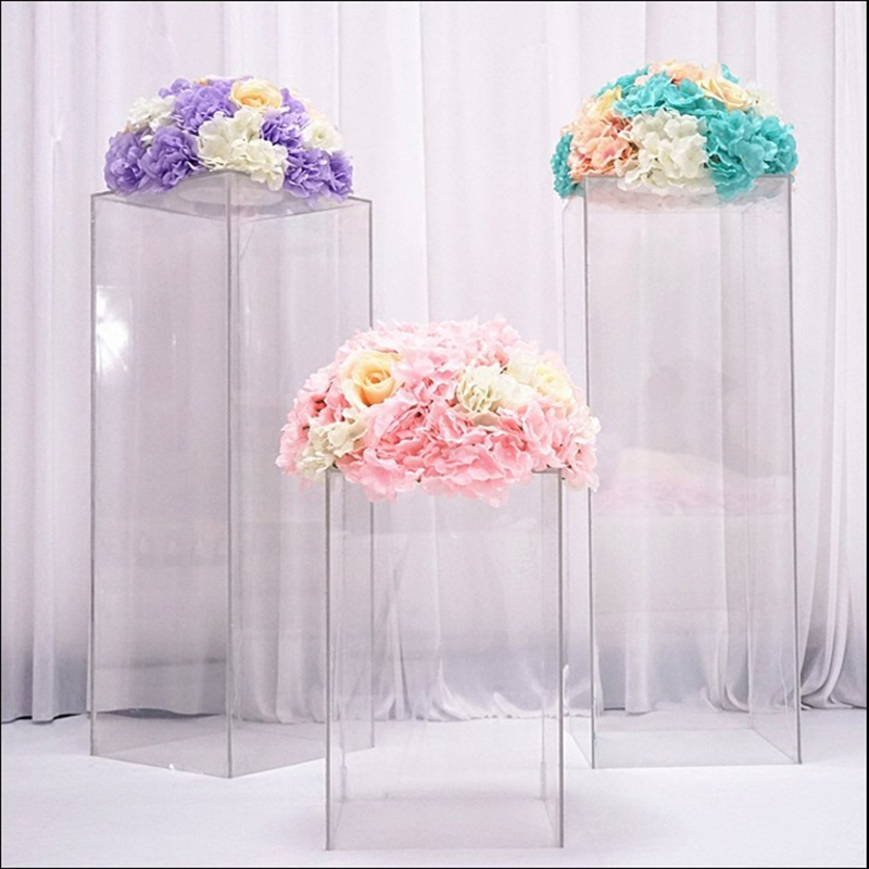 New Wedding Props Road Lead Crystal Square Supplies Acrylic Frame Bracket Vase