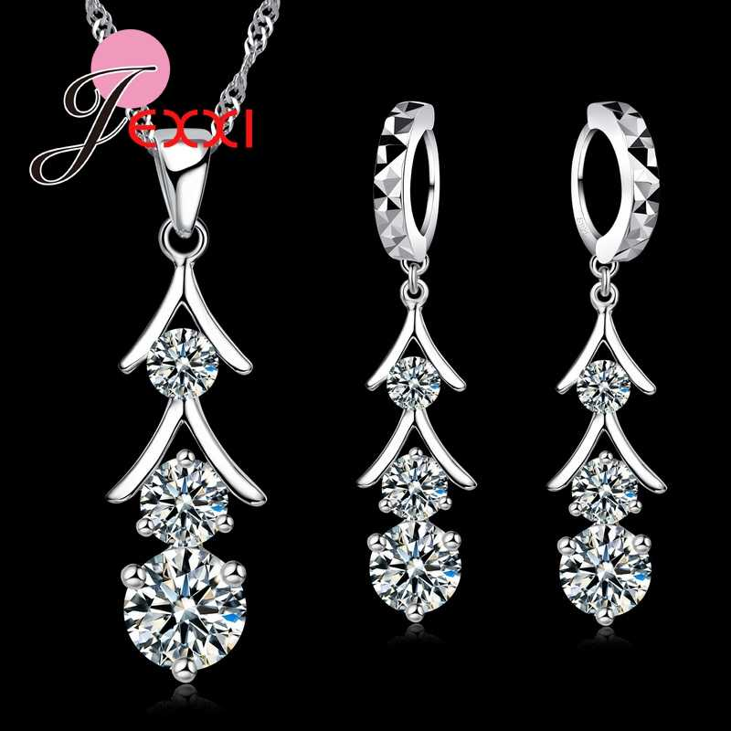 Top Quality 925 Sterling Silver Cubic Zirconia Tassel Drop Necklace Crystal Earrings Jewelry Set Bride Wedding Accessories