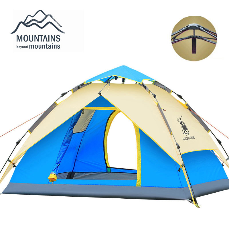 Hydraulic Automatic Windproof Waterproof Double Layer Tent 3 4 person Tents Ultralight Outdoor Hiking font b