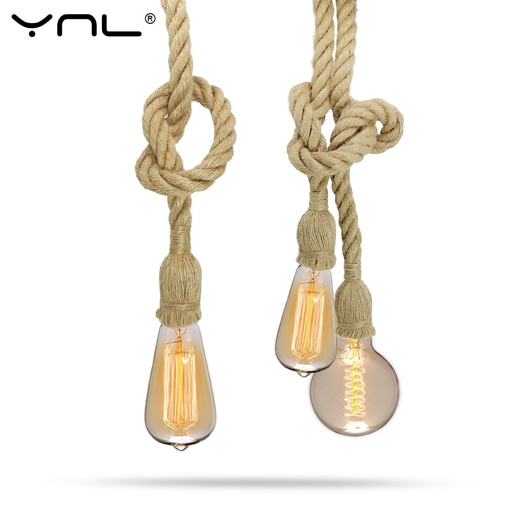 Vintage Retro Pendant Lights Hemp Rope Lamp hanglamp lamparas de techo colgante moderna Hanging Industrial decor Led Lamps