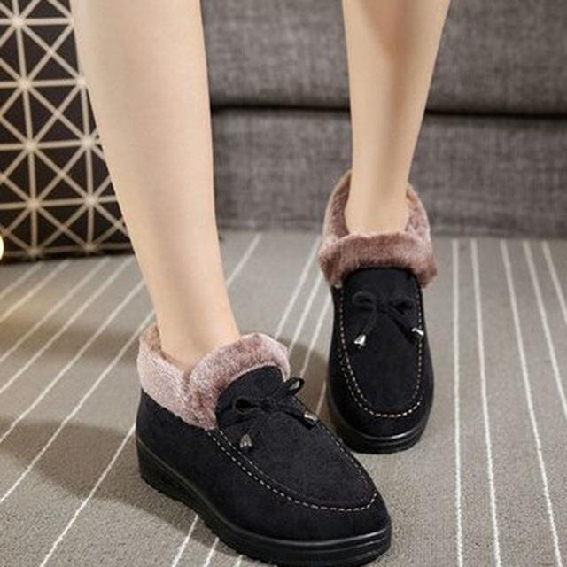 Mujeres ocasionales de la Nieve Botas Otoño Invierno Faux Suede Slip On Flat Botines Calientes de la Felpa del Bowknot Antideslizantes Zapatos Sin cordones antideslizante