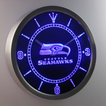 nc0517 Seattle Seahawks Neon Sign LED Wall Clock