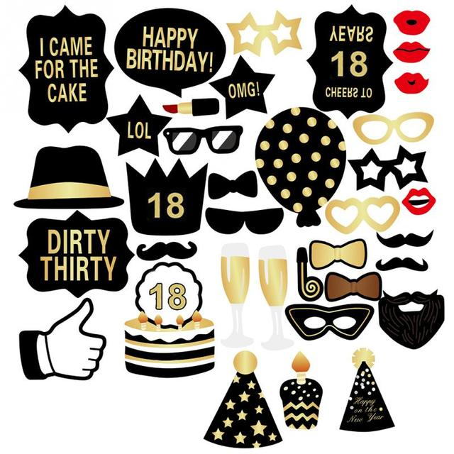 Unisex 18 21st 30 50 60th Birthday Party Photo Booth Props
