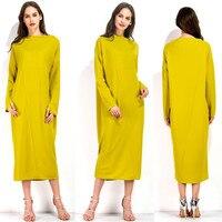 Kadın O Boyun Uzun Elbise 2017 Sonbahar Kış Vintage Katı Elbiseler kadın Uzun Kollu Sarı Rahat Gevşek Vestidos L XL XXL 3XL