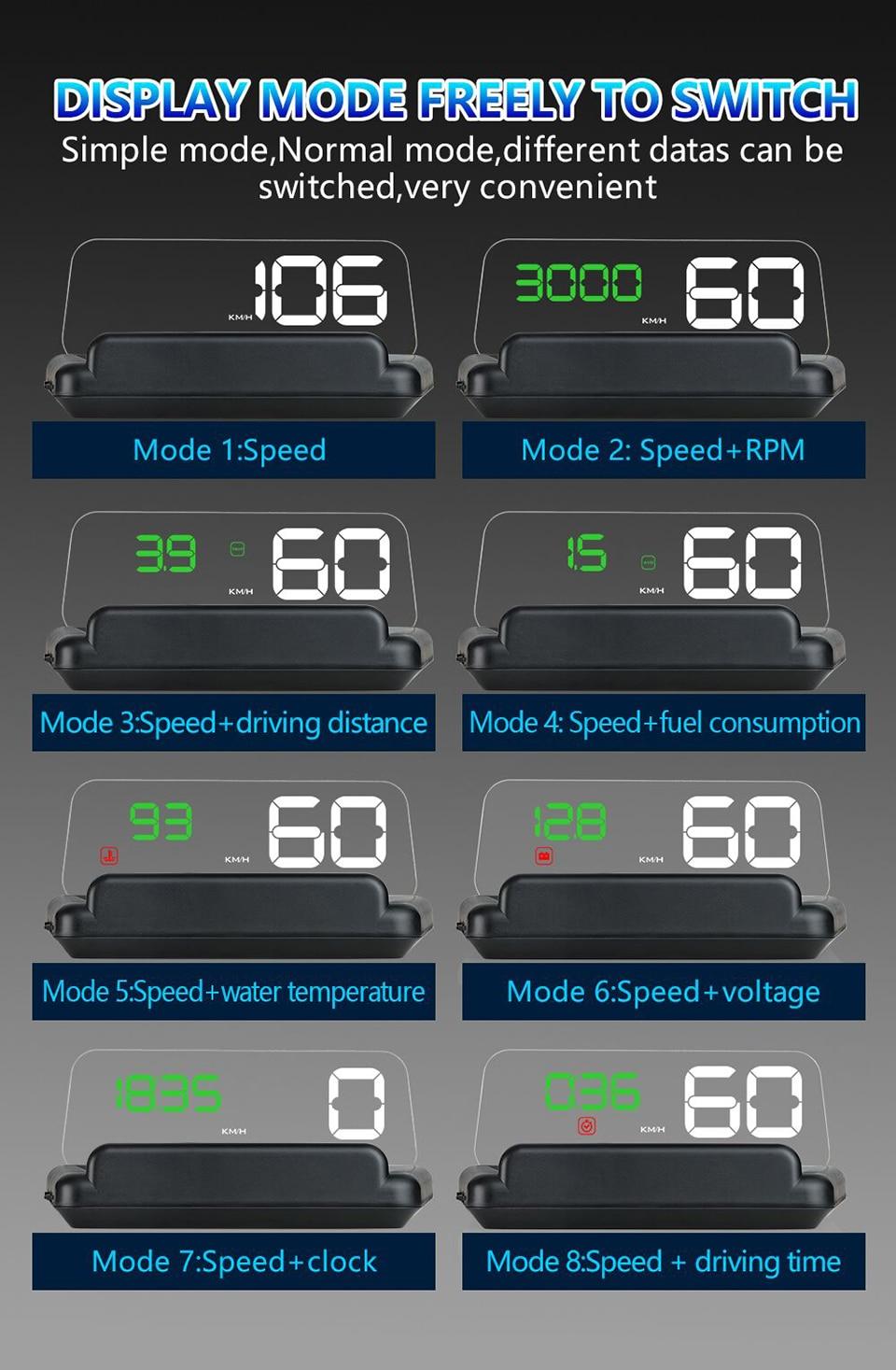 Original VJOYCAR C500 OBD2 Hud T900 GPS Head Up Display Projector Digital Car Speed Projector On-Board Computer Fuel Mileage 12