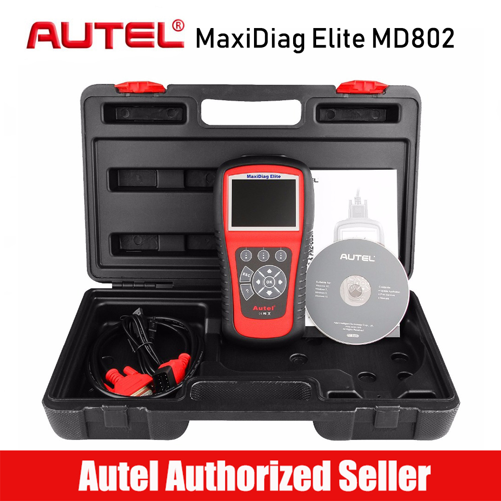 цена на AUTEL MaxiDiag Elite MD802 All System OBD2 Car Code Reader Scanner Auto Diagnostic for ABS/SRS/Engine/Transmission/EPB/Oil Reset