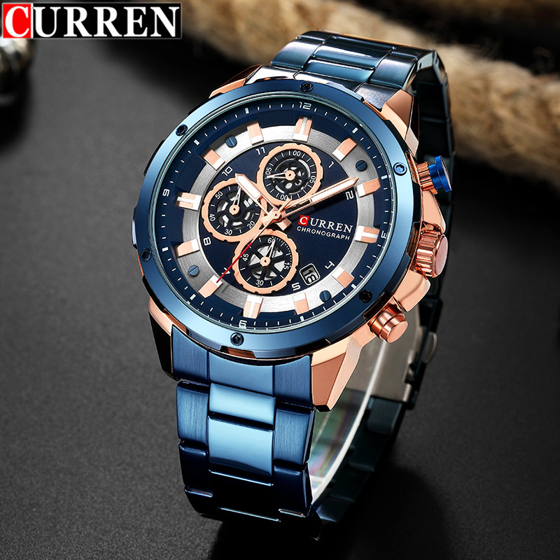 Curren Men's Watch with Blue Stainless Steel Mens Watches Top Brand Luxury Chronograph Men's Watch Quartz Clock Man Wristwatch(China)