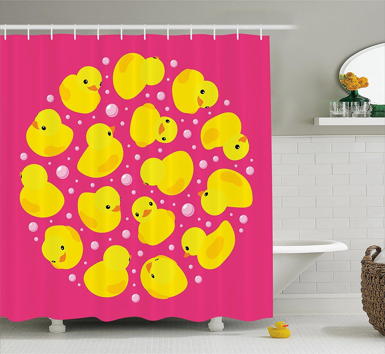 Rubber Duck Shower Curtain Set Fun BaDuckies Circle Artsy Pattern Bath Toys Bubbles Animal Print Fabric Bathroom Decor