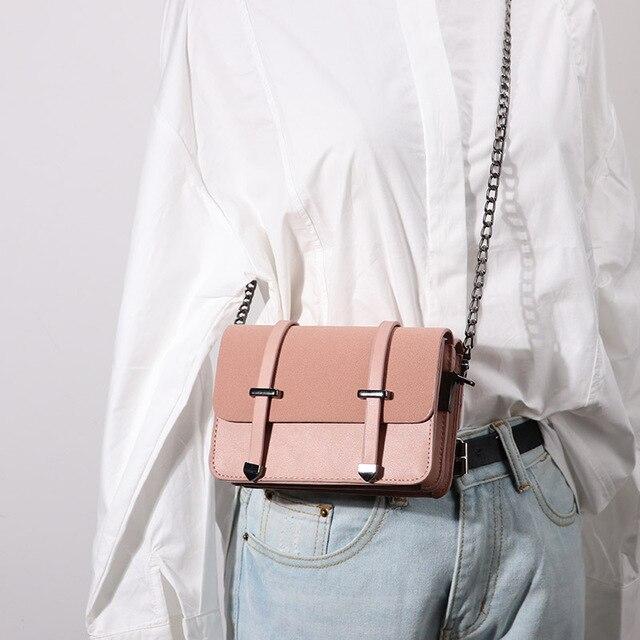 a71dcf6d7b2a US $28.99  Ulzzang PU Leather Women Messenger Bag Summer Korean Fashion  Ladies Crossbody Bag Chain Candy Color Small Flap Shopping Handbag-in ...