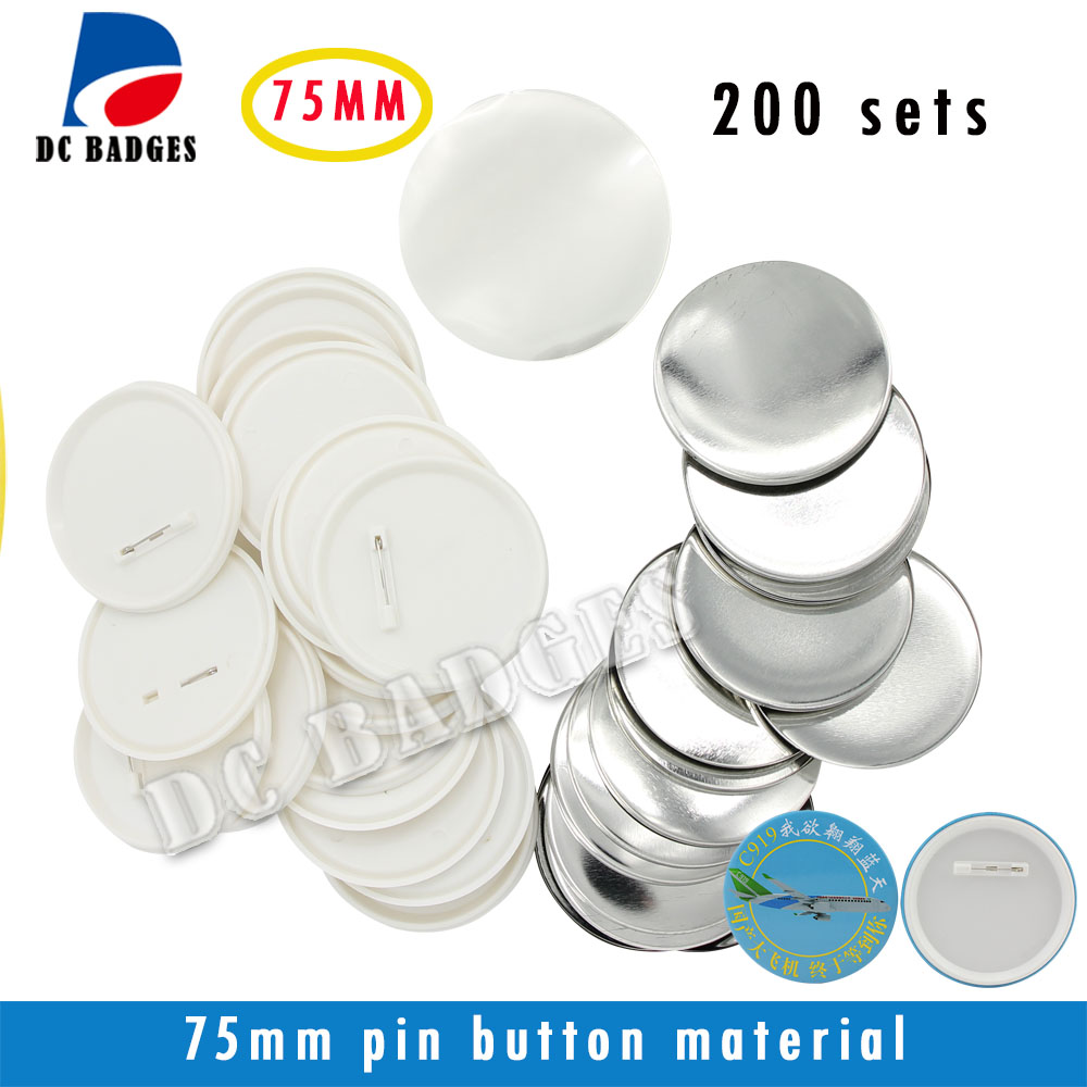 2017 New hot 3(75mm) 200sets  Plastic Pin Badge Material,Blank button parts,Tin badge components free shipping 3 75mm 200sets plastic pin badge material blank button parts tin badge components