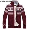 Homens Camisola Da Moda Outono Inverno de Lã Ocasional dos homens Cardigan Sweter Tricô Quente Grossa Camisola Masculina 2016 AFS JEEP Hombre M-3XL
