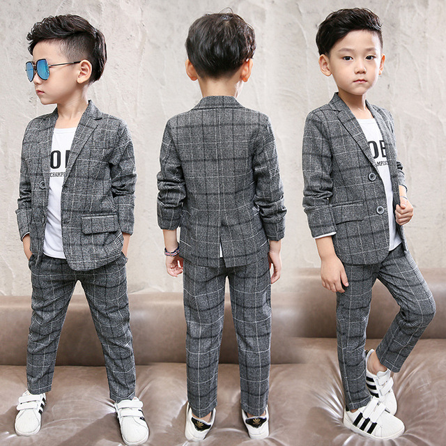 Boy's Plaid Blazer and Pants Set