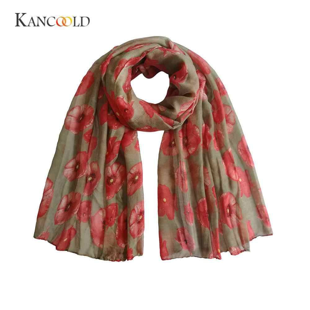 KANCOOLD 靴下女性のファッション新しい赤カジュアルポピープリントロングスカーフ花ビーチラップレディースストールショール PFEB22