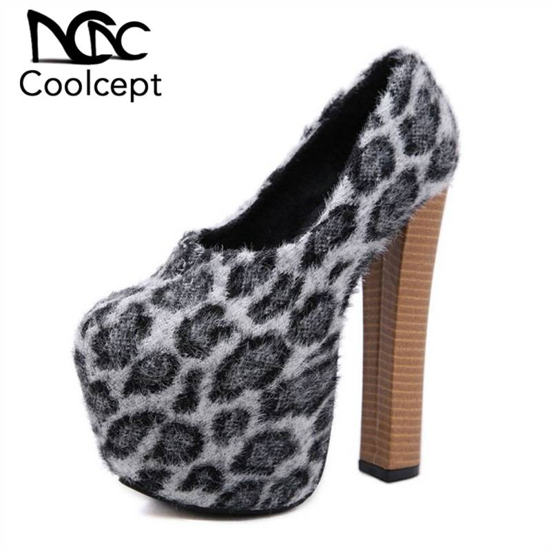 Coolcept Sexy Women High Heel Shoes Leapord Flock Leather Spike Heel Pumps Fashion Sexy Party Shoes Women Footwear Size 34-40Coolcept Sexy Women High Heel Shoes Leapord Flock Leather Spike Heel Pumps Fashion Sexy Party Shoes Women Footwear Size 34-40