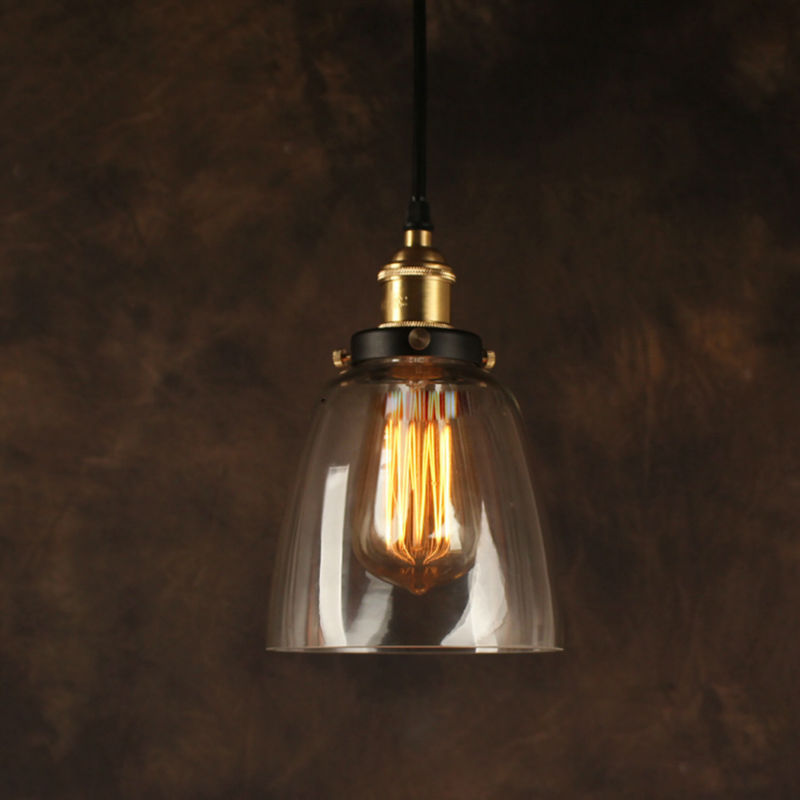 Vintage Industrial Glass Pendant Light: Vintage Pendant Light Industrial Edison Lamp American