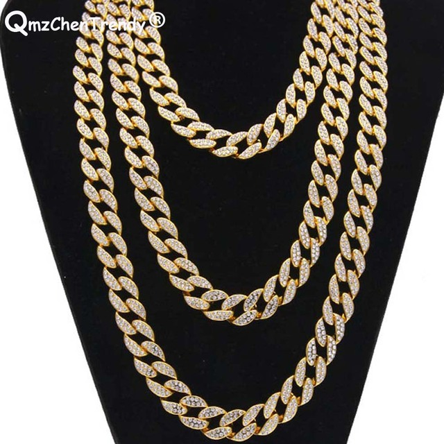 220589cc91 US $19.99 20% OFF|Top Quality Iced Out Bling Rhinestone Miami Cuban Link  Chain Men's Hip hop Necklace Jewelry 15mm width 18/20/24/28 Inch-in Chain  ...