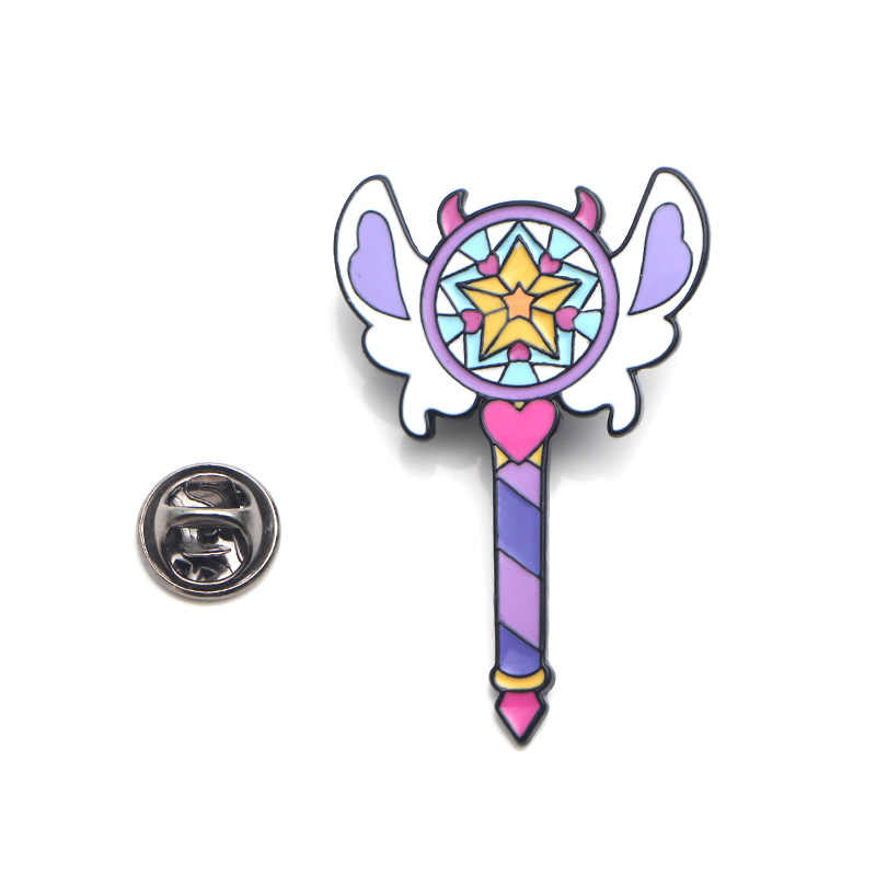 Kupu-kupu Bintang Tongkat Sihir Tongkat Lucu Zinc Alloy Pin Lencana untuk Kemeja Tas Pakaian Topi Ransel Sepatu Bros untuk Wanita e0355