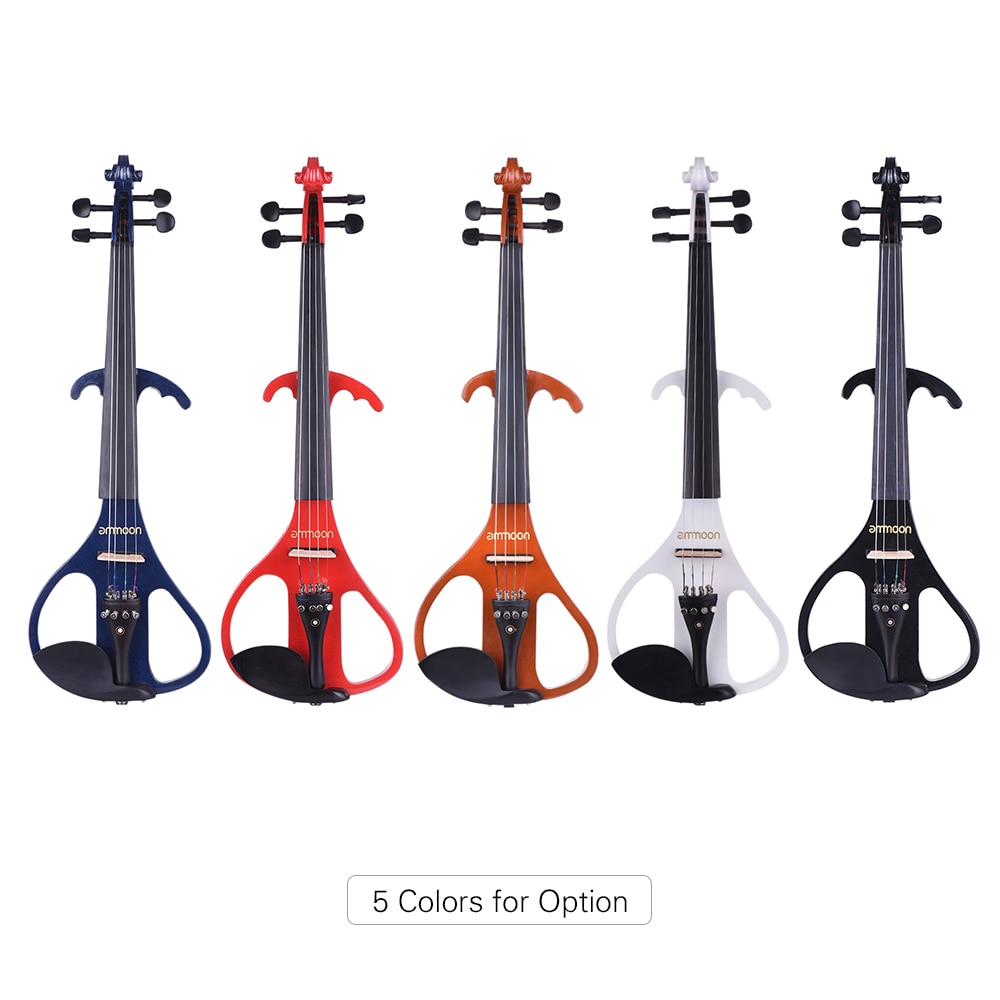 ammoon Full Size 4/4 Solid Wood Electric Silent Violin Fiddle Style-4 Ebony Fingerboard Pegs Chin Rest Tailpieceammoon Full Size 4/4 Solid Wood Electric Silent Violin Fiddle Style-4 Ebony Fingerboard Pegs Chin Rest Tailpiece